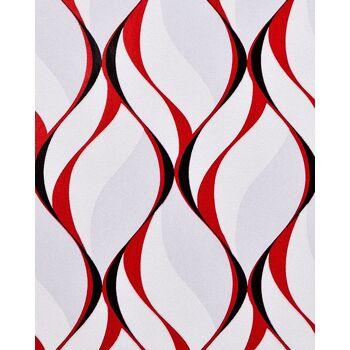 Retro Tapete EDEM 1054-16 Vinyltapete leicht strukturiert mit grafischem Muster und metallischen Akzenten grau rot schwarz 5,33 m2