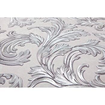 Barock Tapete EDEM 1032-10 Vinyltapete glatt mit Ornamenten und Metallic Effekt weiß silber 5,33 m2