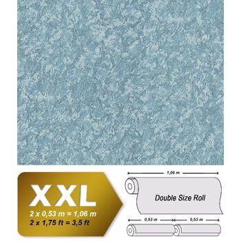Uni Tapete EDEM 9076-29 Vliestapete geprägt in Spachteloptik und Metallic Effekt blau türkis 10,65 m2