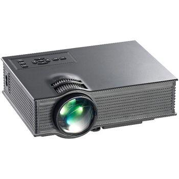 SceneLights Mini portabler LED-Beamer LB-8300.mp mit Mediaplayer, 800 x 480 Pixel LCD HDMI Projektion projezieren Heimkino Kino Fussball