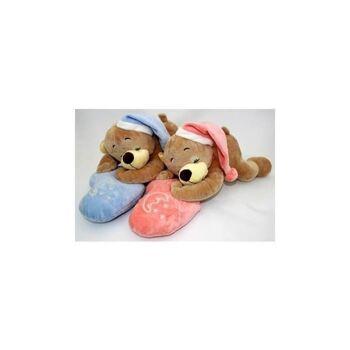 06-3320, Plüschbär, Schlafbär mit Mütze, 40cm, auf Herzkissen