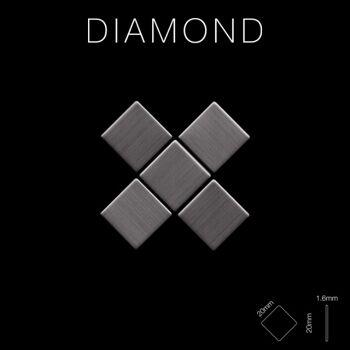 Mosaik Fliese massiv Metall Titan gebürstet in dunkelgrau 1,6mm stark ALLOY Diamond-Ti-SB 0,91 m2