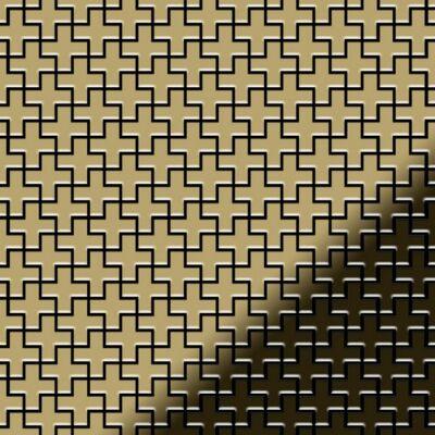 Mosaik Fliese massiv Metall Titan hochglänzend in gold 1,6mm stark ALLOY Swiss Cross-Ti-GM 0,88 m2