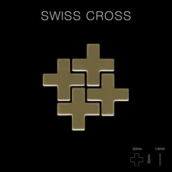 Mosaik Fliese massiv Metall Titan hochglänzend in gold 1,6mm stark ALLOY Swiss Cross-Ti-GM 0,88 m2