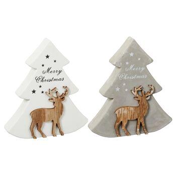17-73239, Tanne Christmas 15,5 cm, mit Hirsch, Weihnachtsbaum, Tannenbaum
