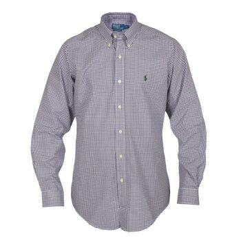 RALPH LAUREN SHIRT VIOLET/WHITE CHECKERED