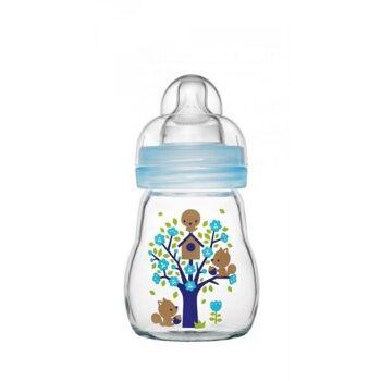 MAM Feel Good Glass Bottle, 170 ml, Jungen Babyflasche