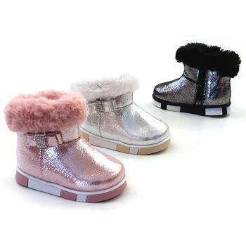 buy popular 254df 76325 Kinder Baby Mädchen Trend Glitzer Stiefeletten Fell Boots Stiefel  Halbstiefel Schlupfstiefel Warm Gefüttert Herbst Winter Shoes Outdoor Frei