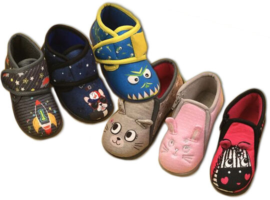 Baby Kinder Jungen Mädchen Trend Hausschuhe Slipper Pantoffeln Schuhe Shoes Klett- und Reißverschluss Mix 22-27 nur 4,90 Euro