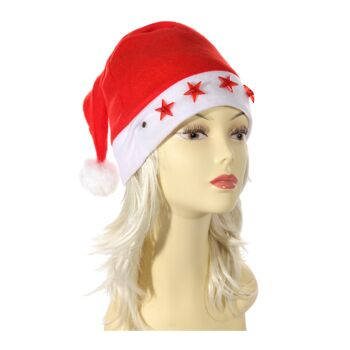 12-806146, blinkende Weihnachtsmütze, Stern, Nikolausmütze, Weihnachts Mütze