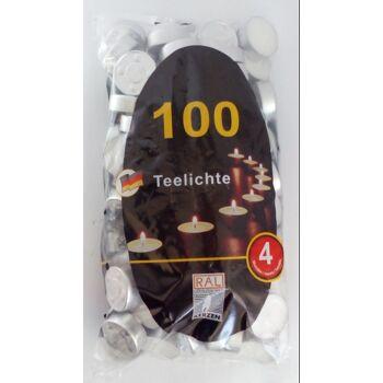 12-2639182100, Teelichte im Beutel 100er Pack, weiss Deutsche Qualität, Stunden Brennzeit, Teelichtkerze, Mehrzwecklichte, Teelichter
