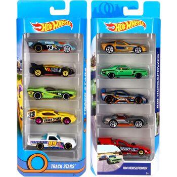 28-018060, Mattel Hot Wheels Modellautos 5er Pack, Kinderspielautos