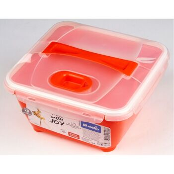 12-169488, ROTHO Mikrowellen Foodbutler Mikrowellendose 1,7 Liter Lunchbox enthält Besteck, mit Einsatz und Deckel