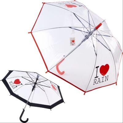 28-215497, Automatik Regenschirm für Kinder 68 cm, mit Spruch, Stockschirm