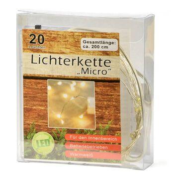 12-76593, LED Lichterkette 200 cm, micro 20 LED, warmweiss, Weihnachtsbaum, Tannenbaum, usw