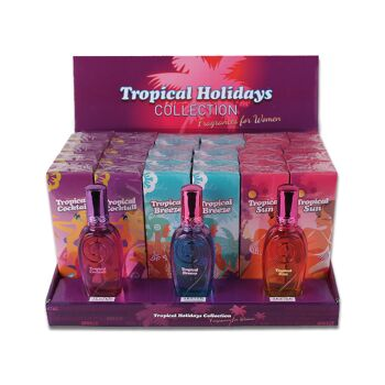 Damen Woman Femme Parfüm Eau de Parfum 24er Display + Tester Gratis 75ml Collection Tropical Holidays Duft Spray nur 1,89 Euro