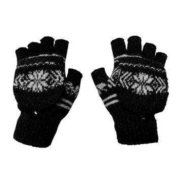 Schwarze Damen Winterhandschuhe aus Wolle mit nordischem Muster - Schwarz