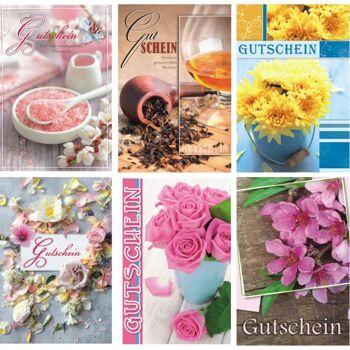 28-465206, Gutschein-Grußkarten mit verschiedenen Motiven und Sprüchen, ganzjährig, mit Umschlag, Geschenkkarten