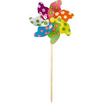 28-613829, Windrad Blume 48 cm, Windmühle, Windpsiel auf Holzstab, Gartenstecker