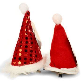 28-754356, Haarspange Weihnachtsmütze, mit verschiedenen Glitzermuster