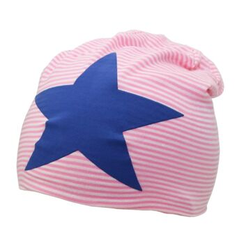 Beanie Mütze, kleingestreift, Stern