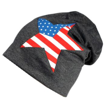 Beanie Mütze USA America Sommer Trend Leichter Jersey Baumwolle