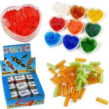 28-310616, LENA Glas Stiftperlen in Herzdose, toll zum Basteln von Ketten, Armbändern, Tieren uvm