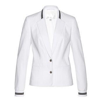 Damen Blazer Weiß Mit Gestreiften Rippbündchen Großhandel Damenmode