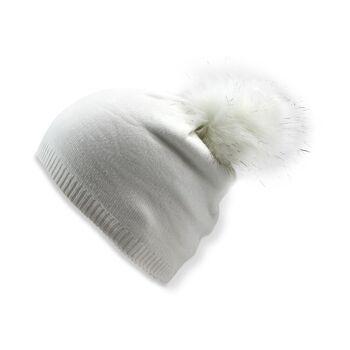 Kinder Winter Beanie Mütze mit Glitzerfasern und Kunstfell Bommel