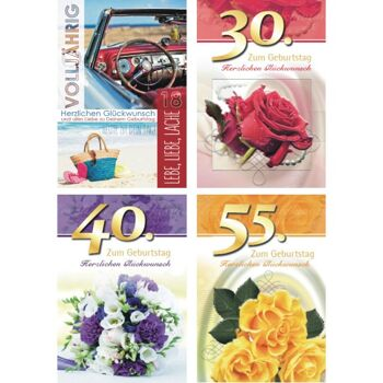 28-520036, Geburtstagsklappkarte Jubiläumszahl, 18, 30, 40 und 55 Jahre, mit Umschlag, Geschenkkarte, Glückwunschkarte