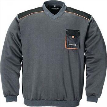 Pullover Gr.L dunkelgrau/schwarz/orange 100%CO V-Ausschnitt 320g/m2
