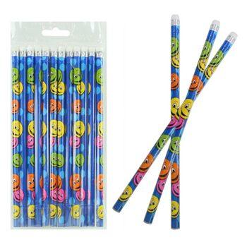 27-80176, Bleistift lachendes Gesicht - Bleistift mit Radiergummi, Lachgesicht