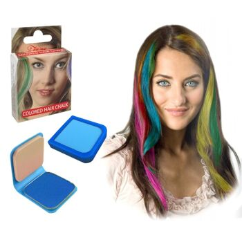 27-52570, Haarkreide 6g BLAU, mit Haarspray oder Lockenstab fixieren, Party, Karneval, Fasching, Event, usw