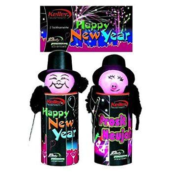 12-6151009, Tischfeuerwerk Happy New Year  Schornsteinfeger  2er Set