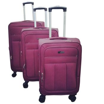 28-214350, 4 Rollen Koffer Set, 3-teillig, Farbe: burgund