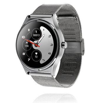 GoClever Fit Watch ELEGANCE silberfarbig Smartwatch Fitness Schrittzähler Pulsmesser mit Metallarmband