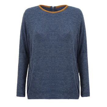 Atmosphere Blaue Pullover mit fauxveloursleder kragen