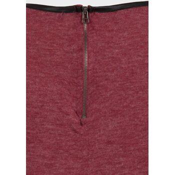 Atmosphere burgunder Pullover mit PU Kragen