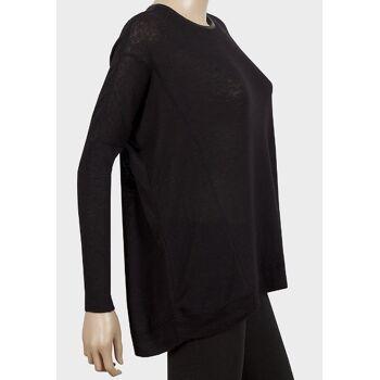 Atmosphere Schwarze Pullover mit PU Kragen