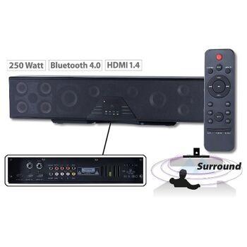 Auvisio 6-Kanal-3D-Soundbar 5.1-Surround-Sound Bluetooth 4.0, HDMI, 250 Watt, Lautsprecher Bar Soundbox Musikbox Dolby Heimkino