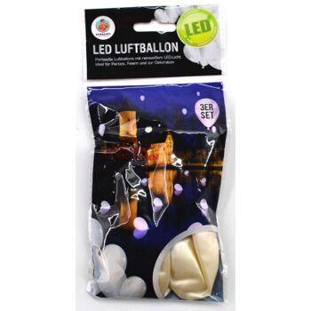 12-70023, LED Luftballons weiß 3er Set, mit LED Licht, Party, Hochzeit, Valentinstag, usw