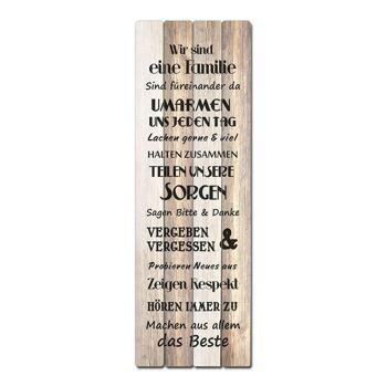 17-64001, Holz Bild Familienregeln , 30x80cm