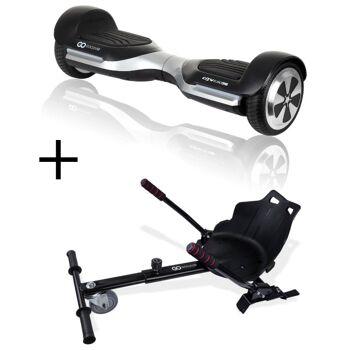 GoClever Cityboard G6 silver + Karting Kit Balance Board Electroboard Racing Kit E-Balance Elektroroller Roller Rollbrett Karting Kart