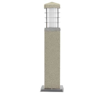 10x Stehleuchte Steinoptik Außenlampe Garten ECKIG 450mm Steckdose ohne Leuchtmittel