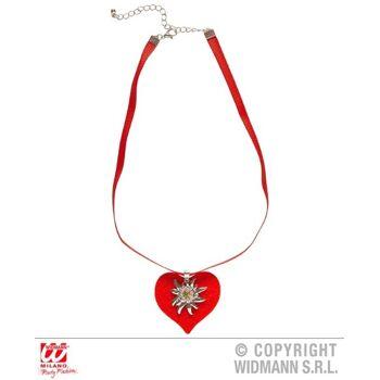 27-46730, Halskette Band mit rotem Herz und Strass Edelweiß
