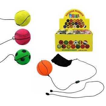 27-95006, Ball Returnball 6 cm, im Sportballdesign, mit Gummiband und Polyestermanschette