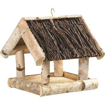 28-321459, Holz Vogelfutterhaus, Futterstelle mit Reisigdach