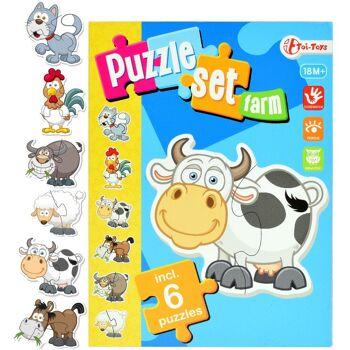 28-423571, Puzzle-Set Bauernhof mit 6 Puzzle