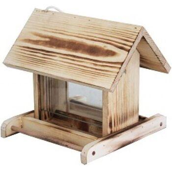 28-520104, Holz Vogelfutterhaus 22 cm, mit zwei Glasscheiben