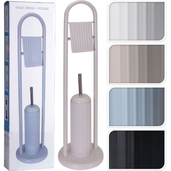 28-590111, elegante Metall WC-Garnitur 2 teilig, WC-Bürste und Toilettenpapier-Halter